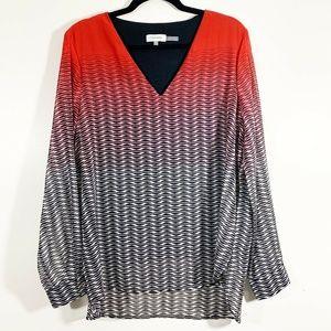 Calvin Klein Red Black V-Neck Popover Blouse Sz L